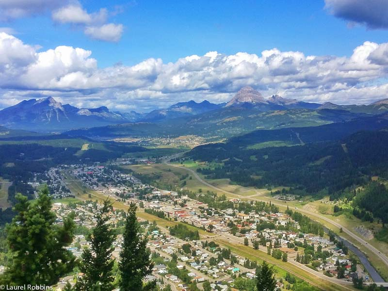 Overlooking the town of Blairmore and Coleman from Turtle Mountain. Crowsnest Mountain is on the right in the background.