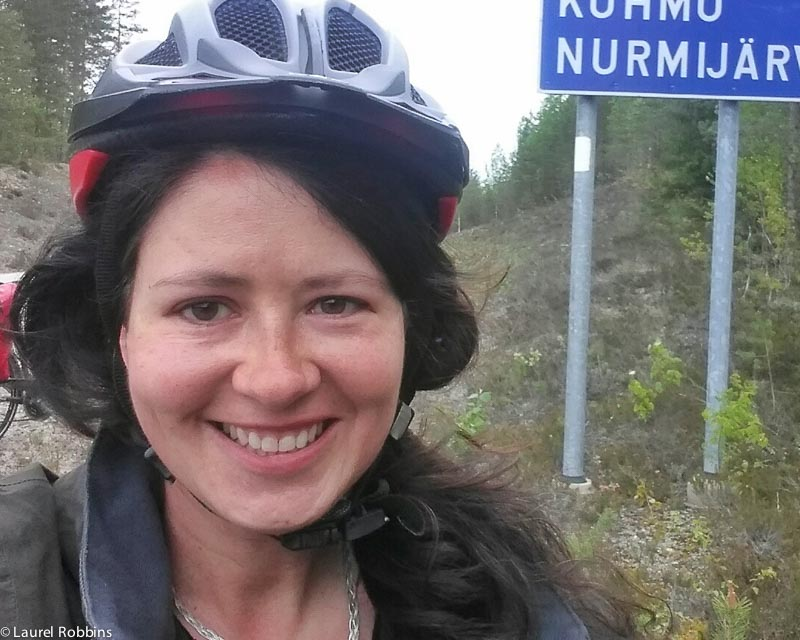Adventure travel blogger, Laurel Robbins cycling the Iron Curtain Trail in Finland