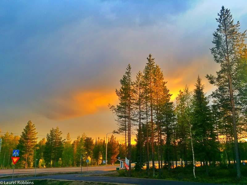 Midnight sun in Salla, Finland
