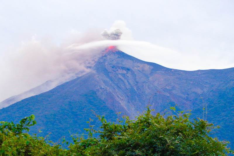 Eruption from Fuego Volcano as we hike towards its summit