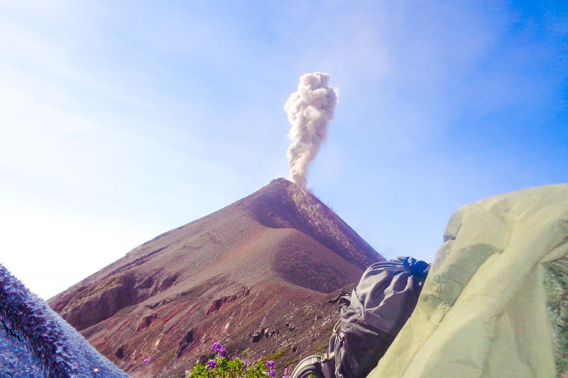 Fuego Volcano erupting while we rested 200m away from the crater