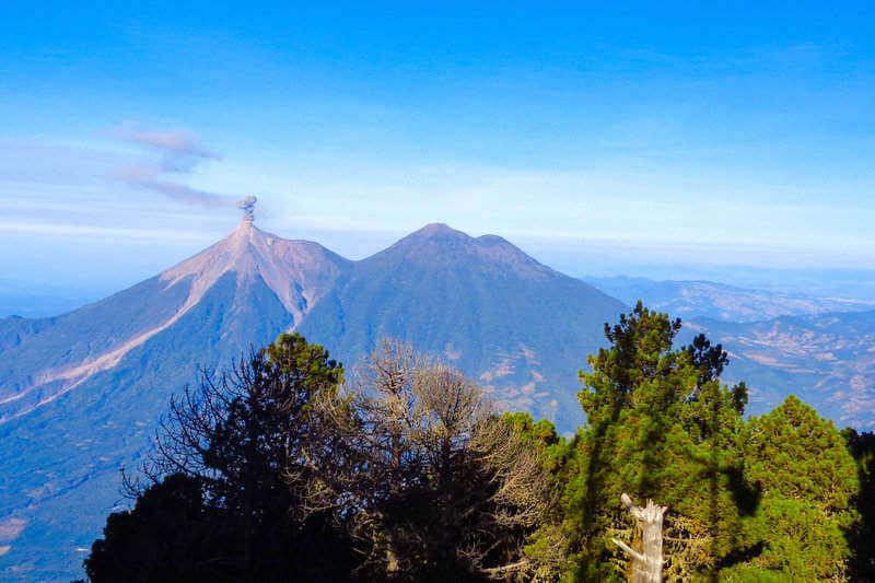 Fuego and Acatenango Volcanos as seen from Aqua