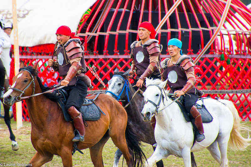 Horsemen performing at the World Nomad Games