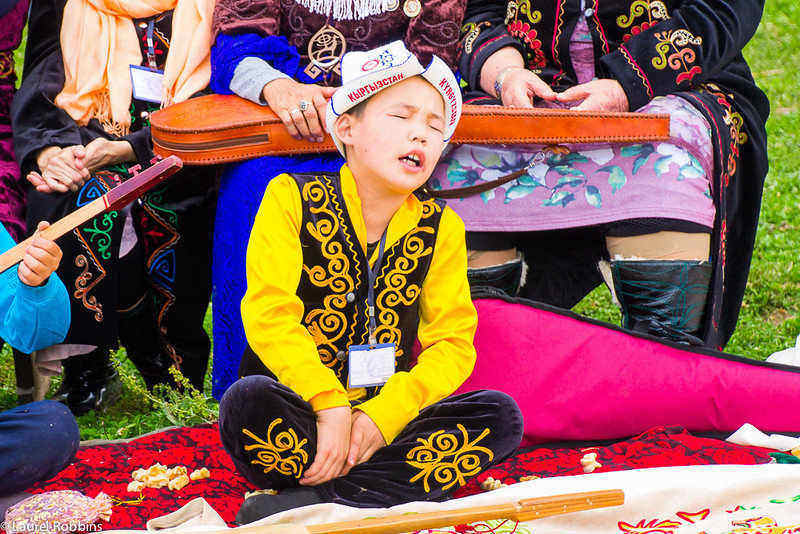 A Kyrgyz boy practising for the storytelling competition at the World Nomad Games.