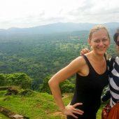Adventure travel blogger Laurel Robbins at the top of Sigiriya in Sri Lanka.