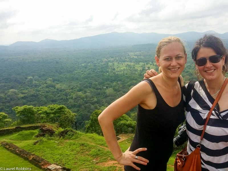 Adventure travel blogger Laurel Robbins at the top of Sigiriya in Sri Lanka.