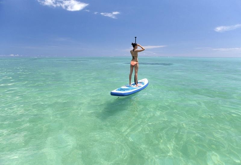 Paddleboarding the crystal clear waters of Mauritius