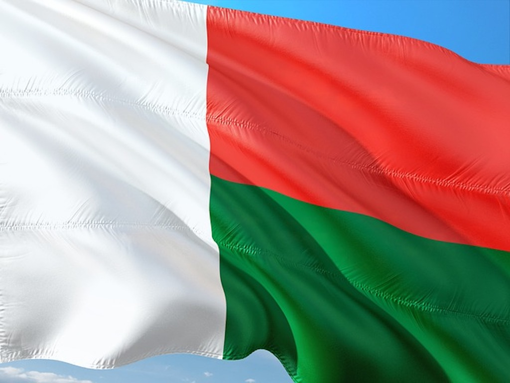 Madagascar's flag is white, red and green.