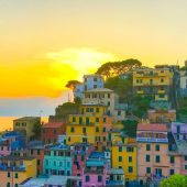 sunset over Riomagiorre as seen on hiking Italian Riviera self-guided tour