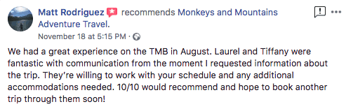 review of TMB tour