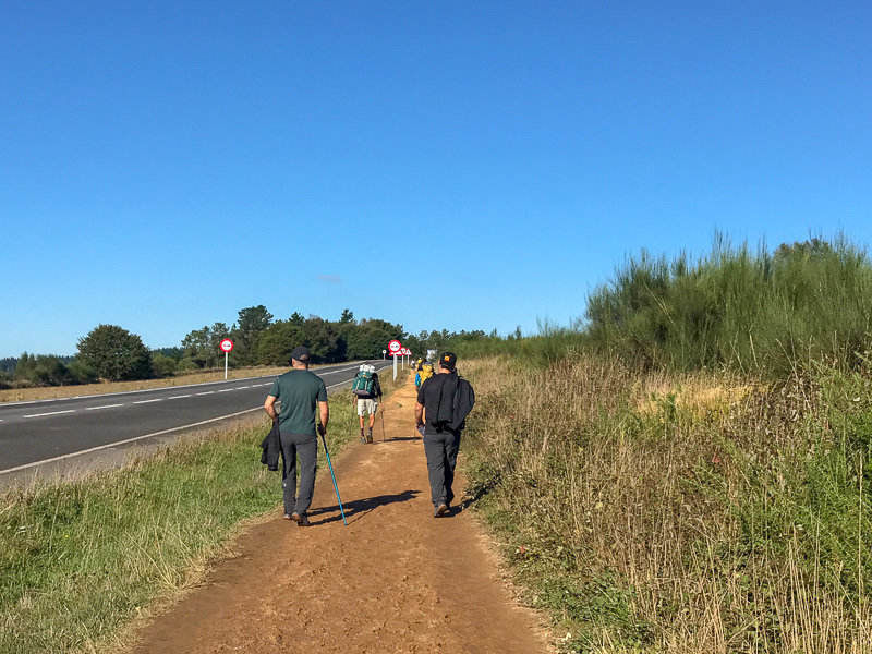 The less scenic parts of the Camino de Santiago are right beside roads.
