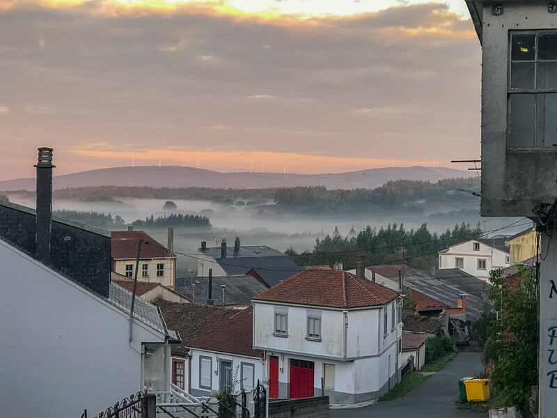 Sunrise over the town of Palas de Reis which is on the last 100 km of the Camino.