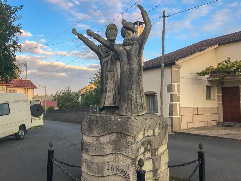 statue in a town on the Camino de Santiago