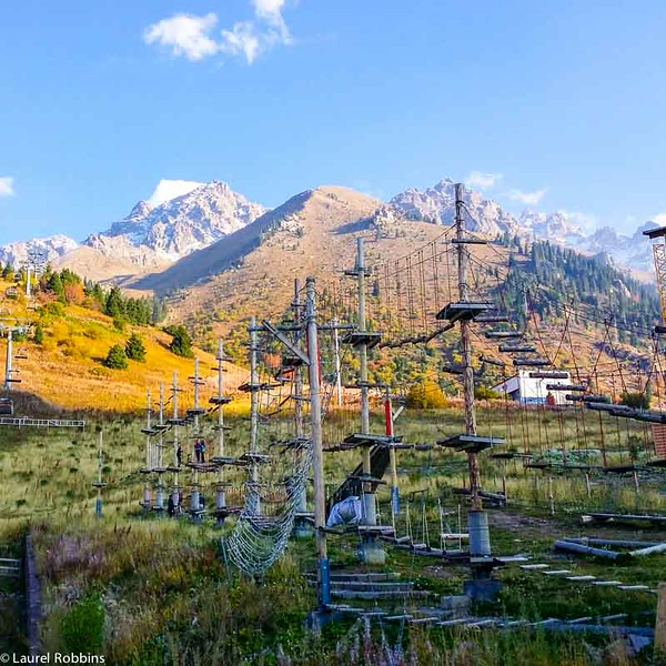 Climbing forest at Shymbulak Ski Resort, with incredible views of the Tien shan mountains in Kazakhstan