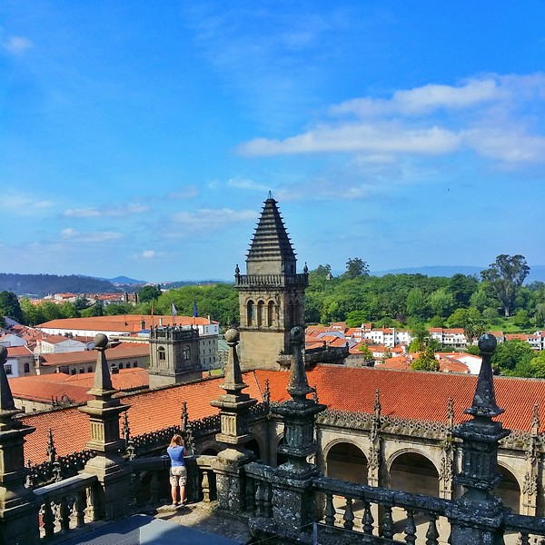 Panaromic views over Santiago from the top of the Catedral de Santiago de Compostela