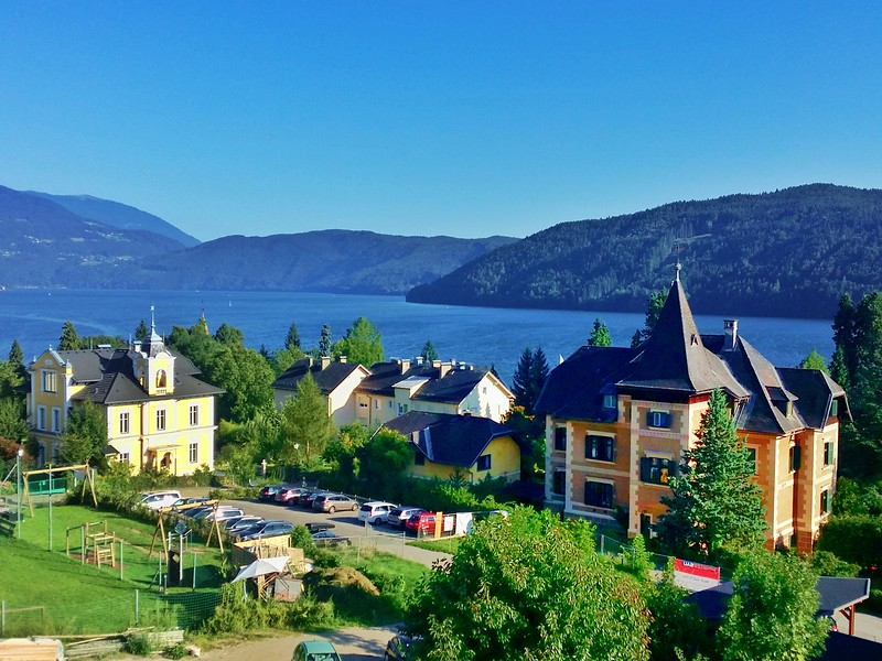 View overlooking Milstatt am See (town of Milstatt and the Lake) in Carinthia, Austria