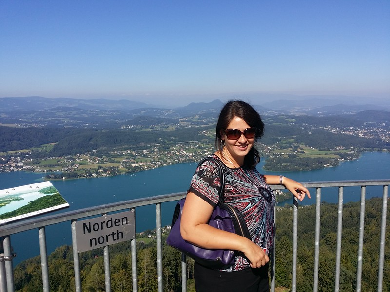 Me enjoying views of the Wörthersee from the Pyramidenkogel in Austria.