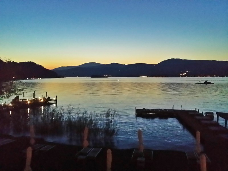 Gorgeous sunset views of the Wörthersee from the Maria Wörth peninsula.