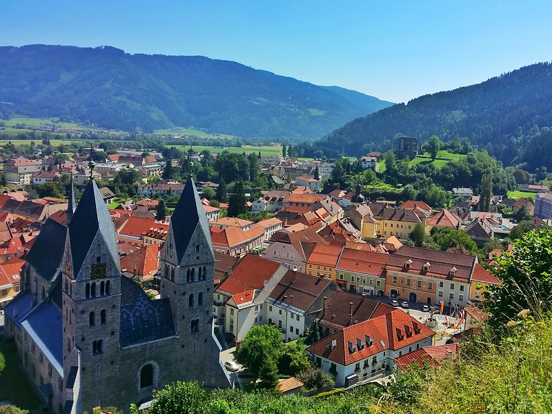 A view of the medieval town of Friesach as seen from Petersberg (mountain). It's worth the hike up.