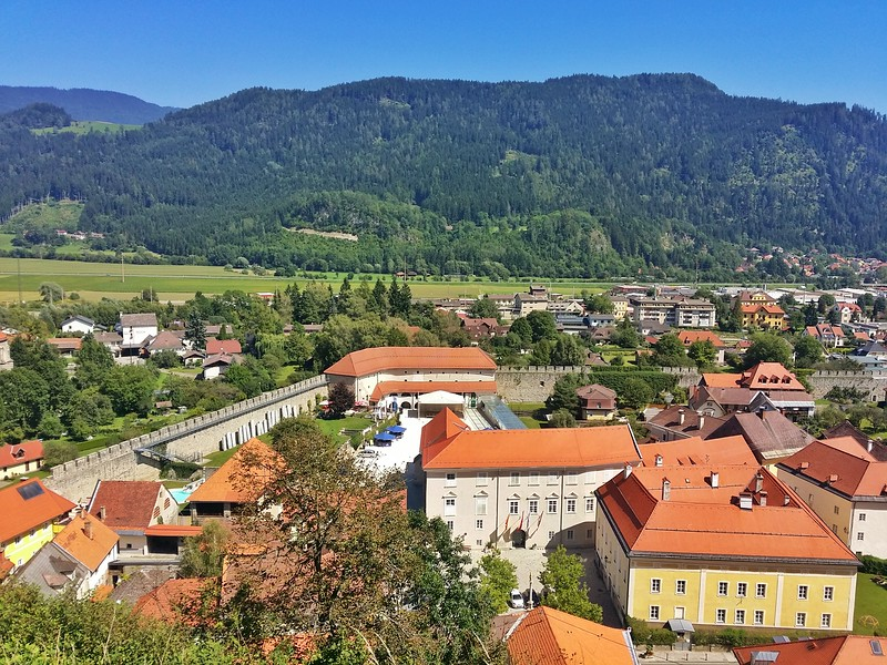 Friesach has an impressive well-preserved medieval city wall as seen from Petersberg (mountain).