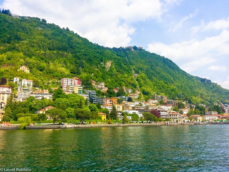 Funicular to the mountain village of Brunate along Lake Como.