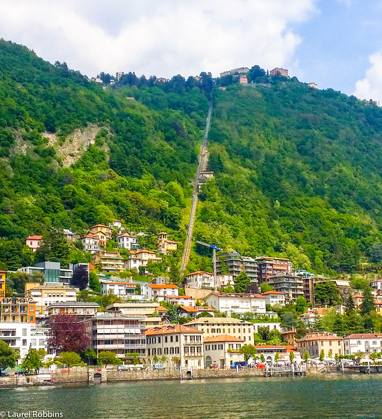 Funicular to the mountain village of Brunate which offers great views over Lake Como in Italy.