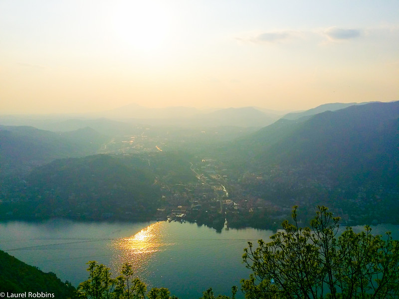 View over Lake Como from the Faro Voltiano Lighthouse in Brunate