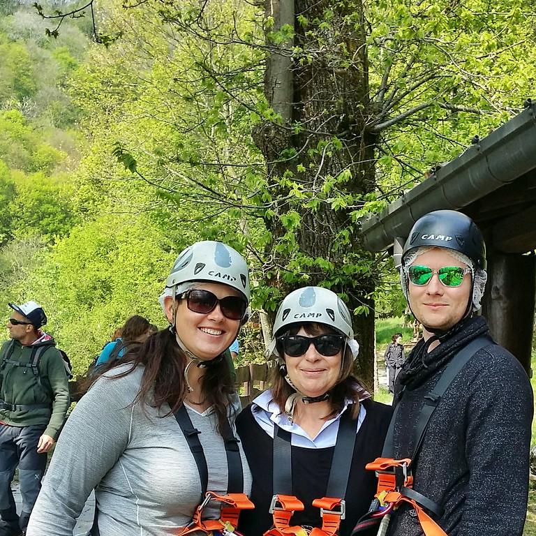 blogger trip prmoting ziplining near Como, Italy.