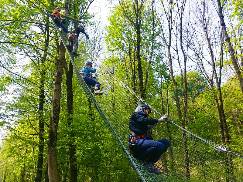 navigating the spiderman nets is an adventure at Jungle Raider Park Xtreme in Como Italy