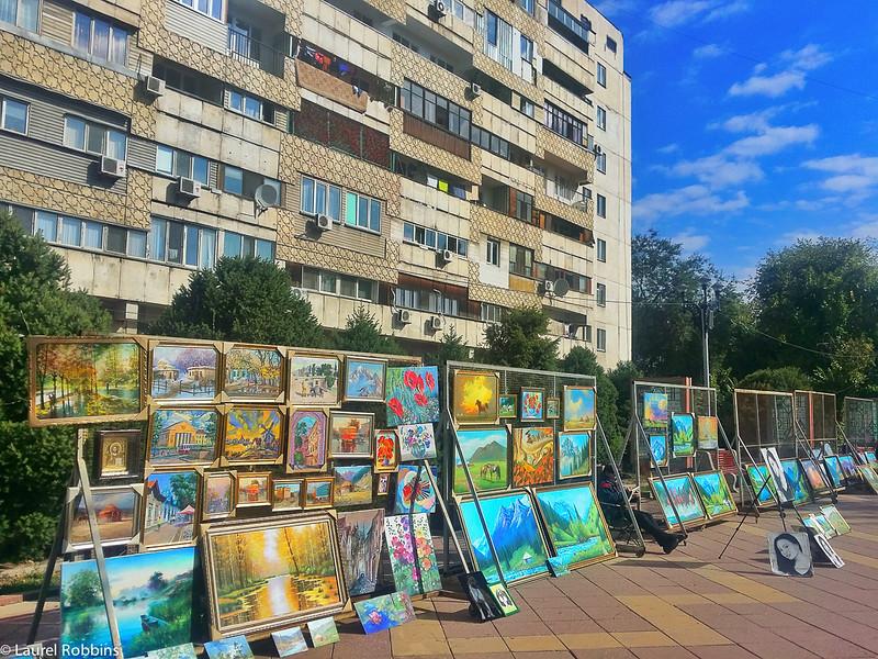 Art works along Zhybek-Zholy (Silk road) street in Almaty Kazakhstan