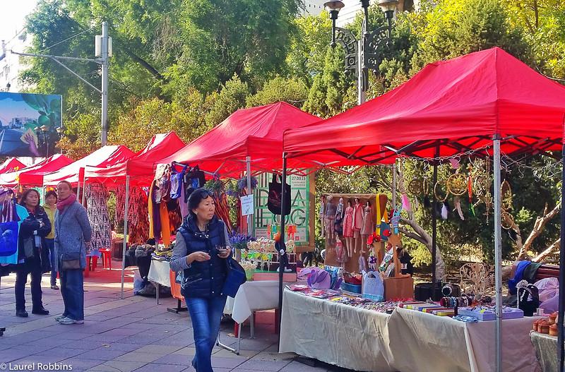 Pedestrian shopping street in Almaty Kazakhstan
