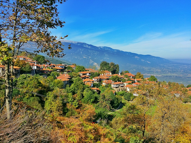 overlooking a village and Mount Olympus from Old Panteleimonas Greece