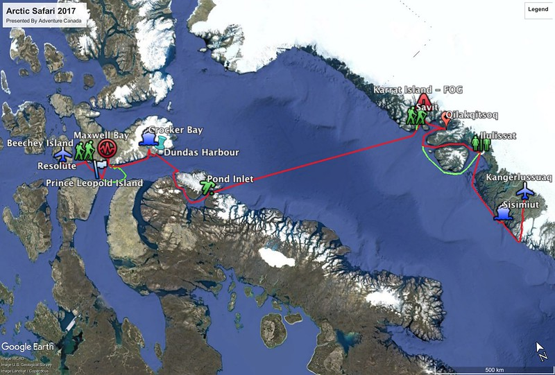 The route for our 2017 Arctic adventure from Greenland to Nunavut.
