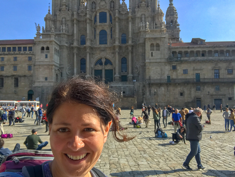 me in Santiago at the finish point of my Camino de Santiago tour