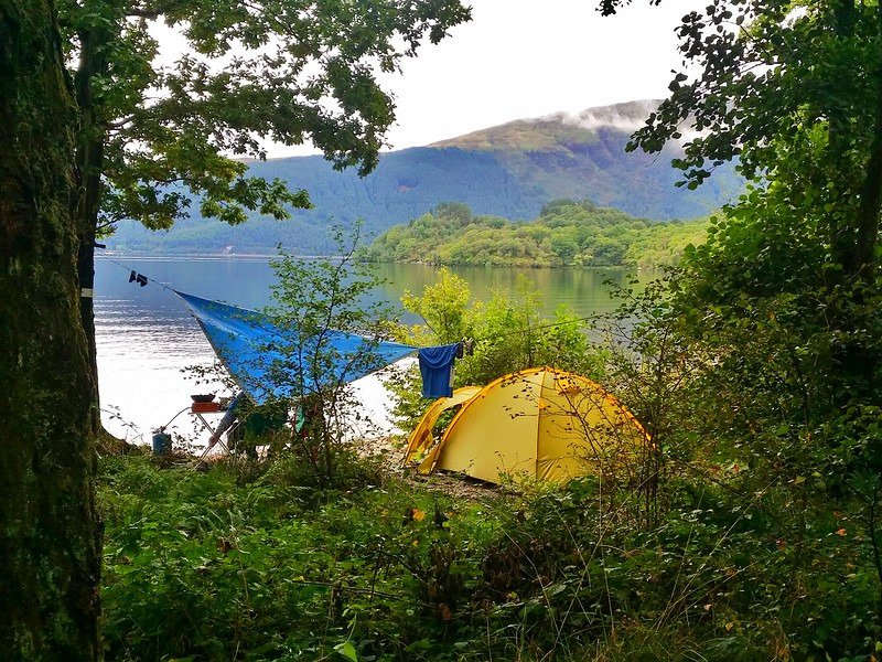 camping along the West Highland Way on the shores of Loch Lomond