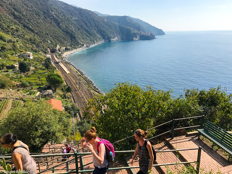 Getting to Corniglia, one of the Cinque Terre villages involves either a climb up or down depending on which direction you apoproach it from.
