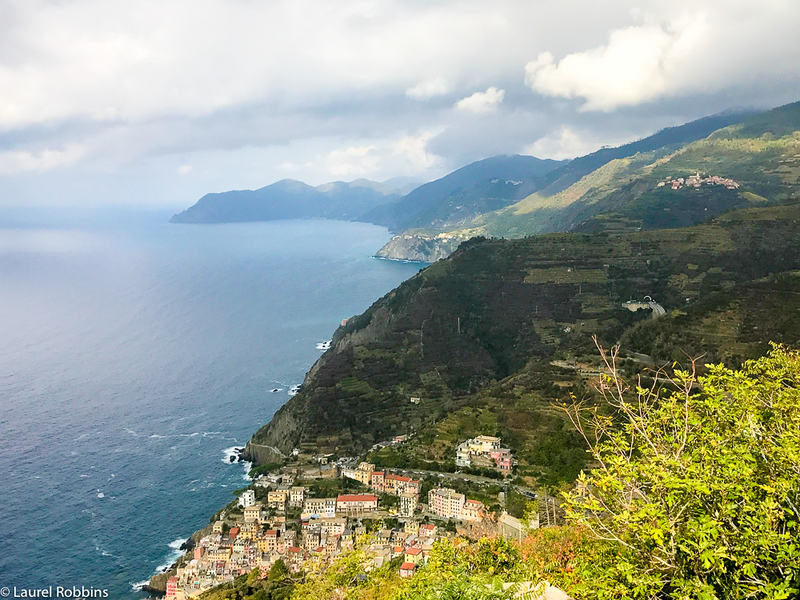 View of Riomaggiore and two other Cinque Terre villages seen after just an hour or so of hiking