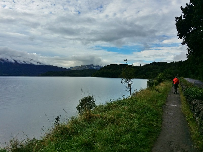 Day 2 hiker along the shores of Loch Lomond in Scotland