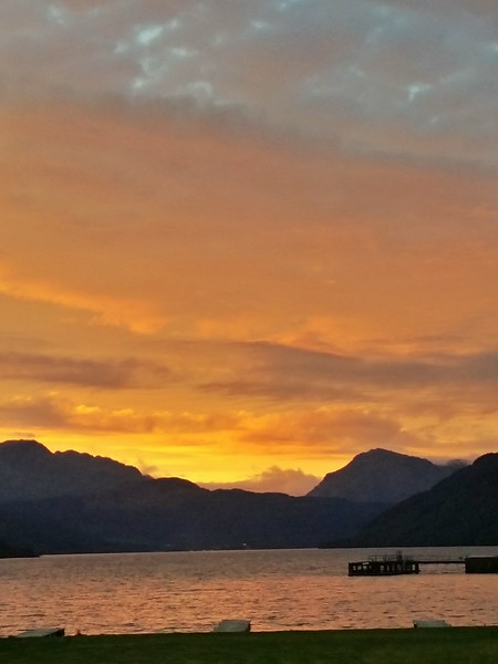 Day 2 sunset over Loch Lomand in Rowardennan