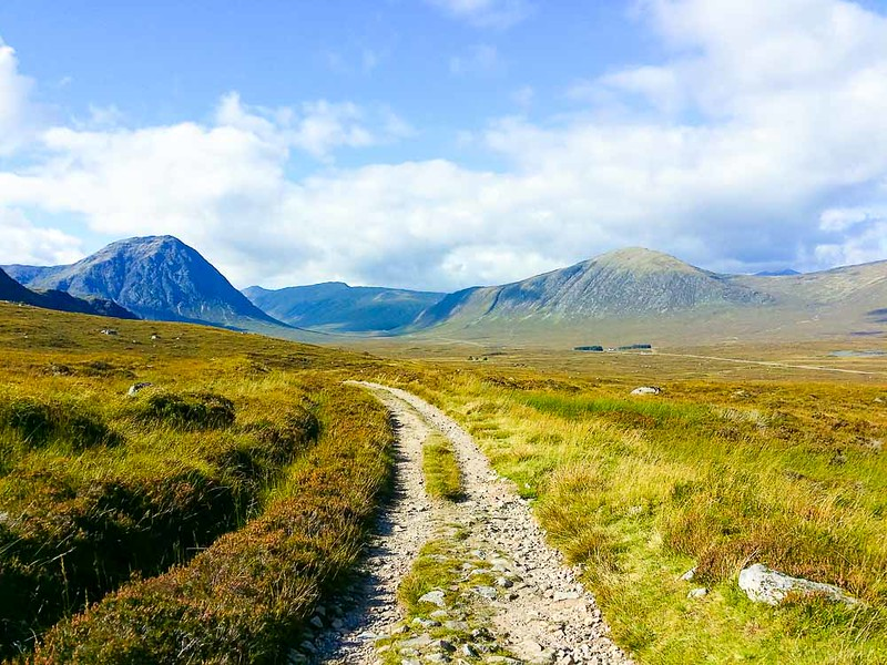 Day 5 hiking west highland way between Loch Tulla and A82