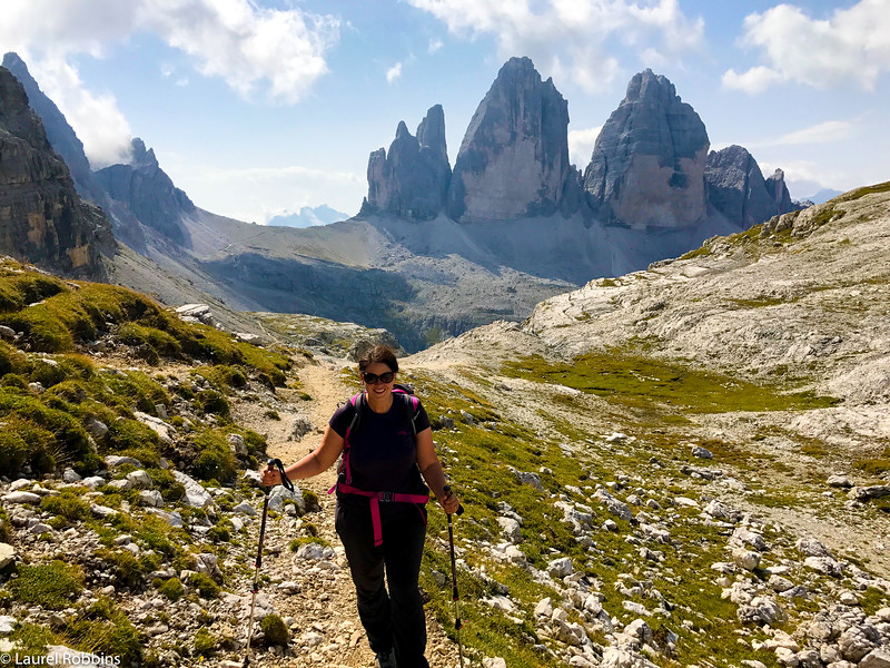 Laurel hiking the Dolomites on a 7-day hiking tour