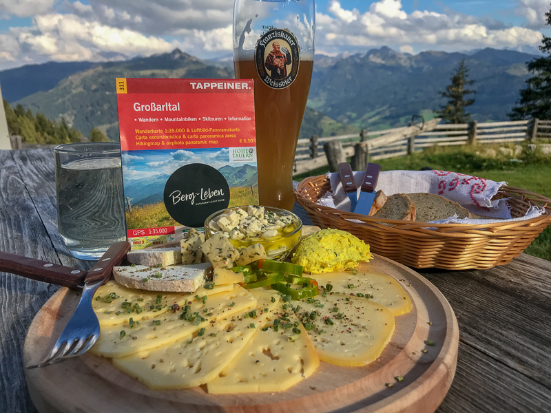 Cheese plate at a mountain hut in Grossarl, Austria