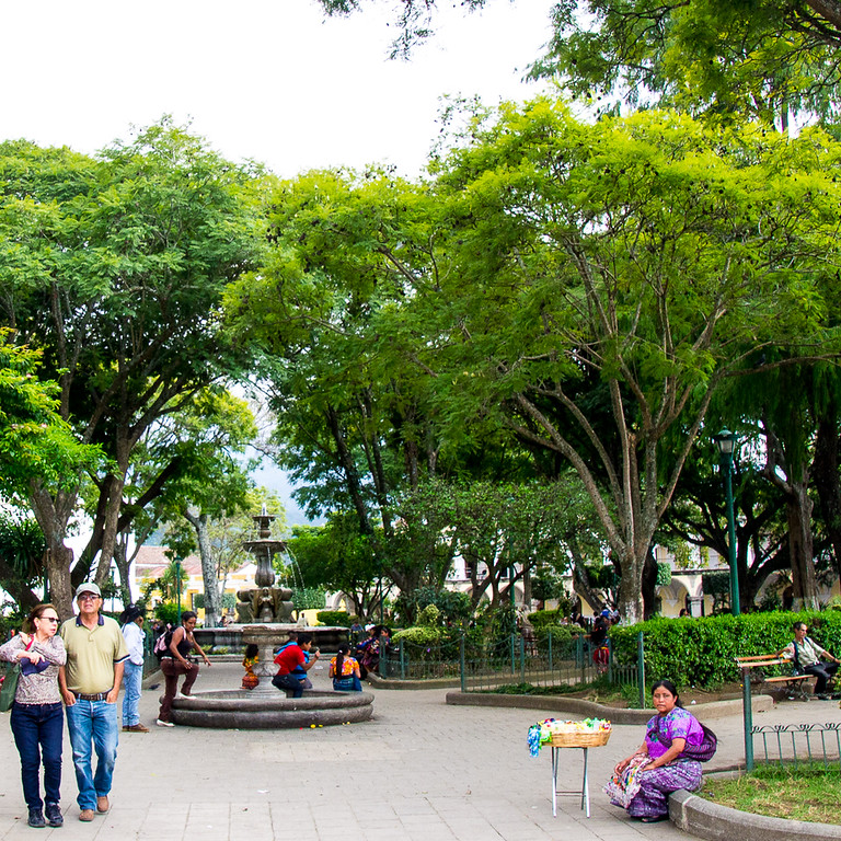 travellers will find plenty of green spaces like Central Park in Antigua Guatemala