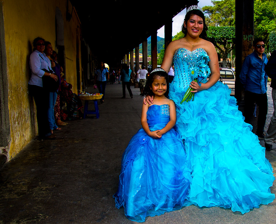 A Guatemalan girl celebrates her Quinceañera, (her 15th birthday)