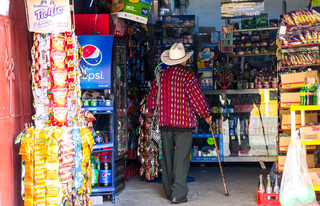 An elderly Guatemalan man in a local store.