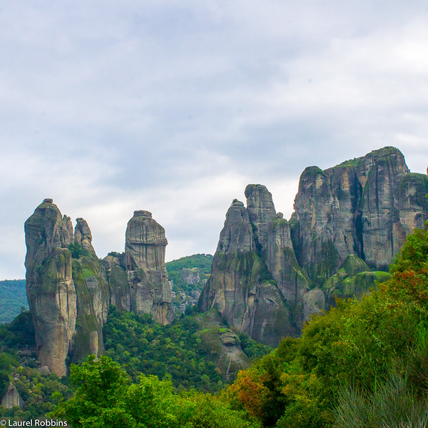 View of the unique sandstone pillars that make Meteora, Greece so unique