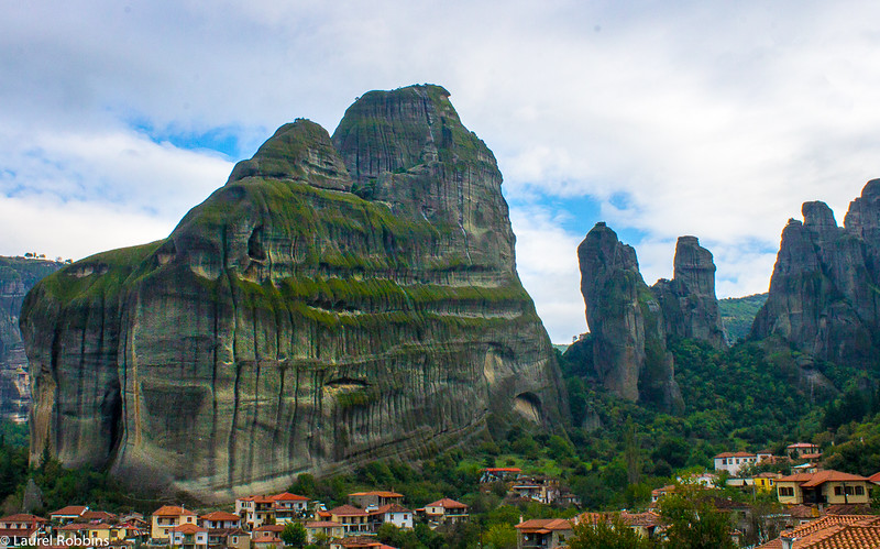 View of the Holy Spirit Mountain in Meteora, Greece