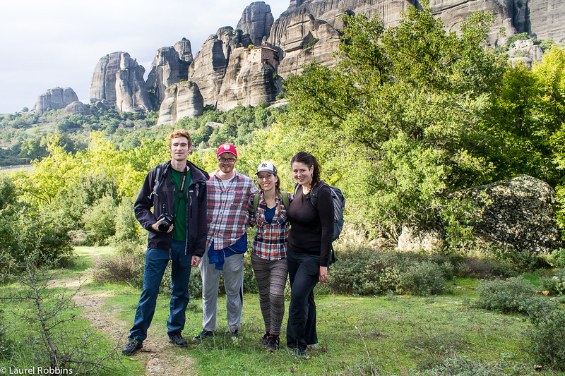 Our hiking group revelling in the geological phenomenon that makes Meteora, Greece so famous.