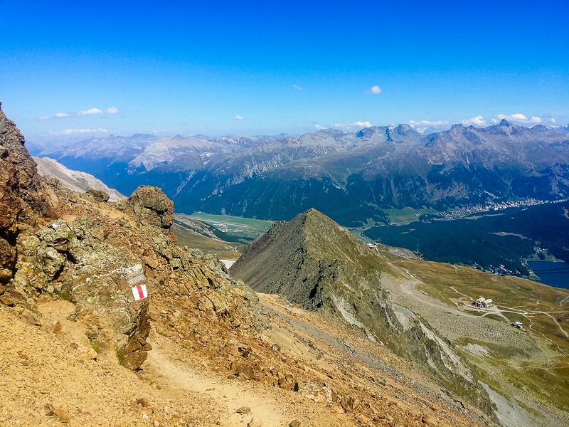 Overlooking the Engadin Valley from the mountains near St Moritz Switzerland