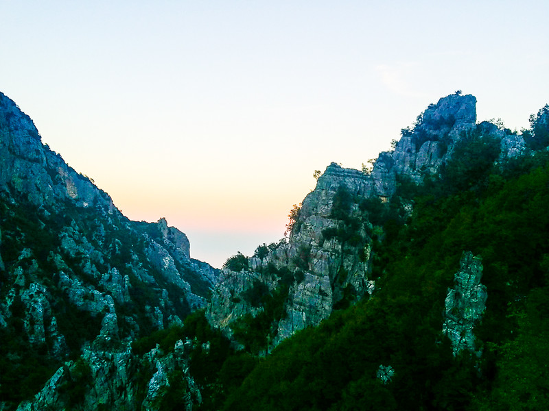 Views of both Mount Olympus and the Aegean Sea from Enipeas' Gorge in Mount Olympus National Park in Greece